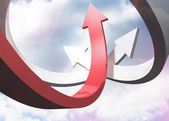 Red and grey curved arrows pointing against sky — Stock Photo