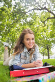 Young happy student lying on the grass sending a text — Stock Photo