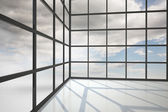 Blue sky seen through window — Foto Stock