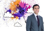 Composite image of smiling businessman standing — ストック写真