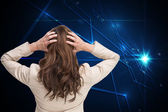 Composite image of young classy businesswoman with hands on head — Stock Photo
