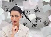 Empresaria pidiendo silencio — Foto de Stock
