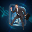 Cheerful attractive businessman in a hury — Stock Photo