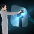 Composite image of thoughtful asian businesswoman pointing — Stock Photo