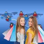 jeunes femmes avec des sacs à provisions — Photo