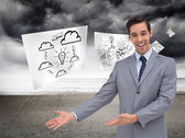 Businessman giving a presentation with his hands — Stock Photo