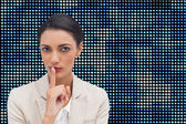Businesswoman asking for silence — Stock Photo