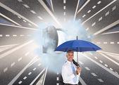 ビジネスマン持株傘 — ストック写真