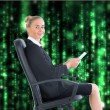 Composite image of businesswoman sitting in swivel chair holding — Stock Photo