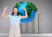 Victorious stylish businesswoman posing — Stock Photo