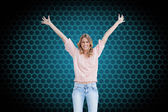 Smiling woman arms raised up — Stock Photo