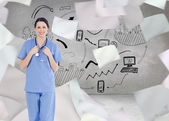 Medical intern wearing a blue short-sleeve uniform — Stock Photo
