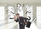 Happy businessman in a hury — Stock Photo