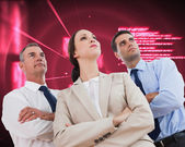 Serious work team posing together looking away — Stock Photo