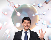 Composite image of smiling businessman touching — Stock Photo