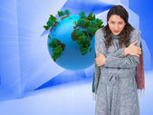 Model with winter clothes being cold — Stock Photo