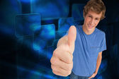 Male student the thumb-up — Stock Photo