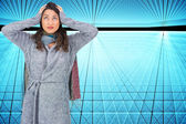 Composite image of anxious pretty brunette wearing winter clothes posing — Foto Stock