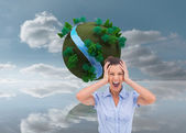 Businessswoman with hand on her head — Stock Photo