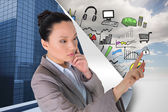 Composite image of thoughtful asian businesswoman pointing — Foto Stock