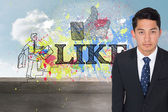Composite image of serious asian businessman — Photo