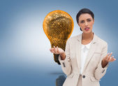 Confused businesswoman standing — Stock Photo
