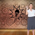 Composite image of stylish businesswoman making gesture — Stock Photo #38503593