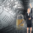 Stock Photo: Composite image of businesswompulling chain