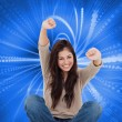 Woman celebrating in front of her laptop — Stock Photo