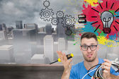 Composite image of portrait of confused it professional with scr — Stock Photo