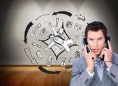 επιχειρηματίας κουβάρι επάνω σε τηλέφωνο καλώδια — Φωτογραφία Αρχείου
