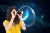 Casual young woman using binoculars — Stock Photo