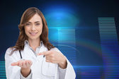 Composite image of smiling doctor presenting her hand — Stock Photo