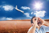 Composite image of shouting casual man standing — Stock Photo