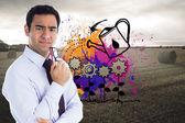 Composite image of thinking businessman holding glasses — Stock Photo