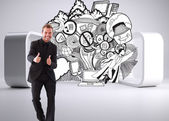 Businessman with thumbs up in a meeting — Stock Photo