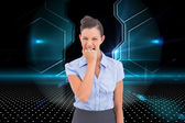 Composite image of furious businesswoman looking at the camera — Stock Photo