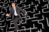 Imagen compuesta de popa empresaria en un rapido — Foto de Stock