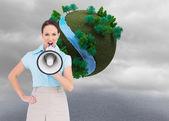 Classy businesswoman talking in megaphone — Stock Photo