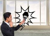 Obraz kompozytowy miło azjatycki biznesmen, wskazując — Zdjęcie stockowe