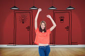 Laughing teenage raising arms — Stock Photo