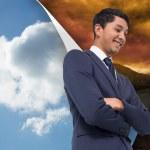 uomo d'affari asiatico con braccia incrociate — Foto Stock