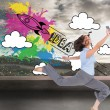 Composite image of happy classy businesswoman jumping while holding smartphone — Stock Photo
