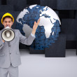 Architect with hard hat shouting with a megaphone — Stock Photo #38513241