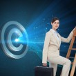 Composite image of businesswoman climbing career ladder with briefcase — 图库照片 #38515585