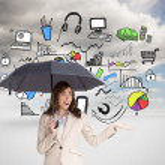 Elegant businesswoman holding black umbrella — Stock Photo