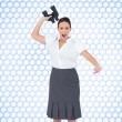 Angry businesswomthrowing binoculars away — Stock Photo #38516317