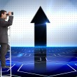Composite image of businessman standing on ladder — Stock Photo #38517113