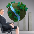 Stock Photo: Composite image of businesswomsitting in swivel chair