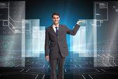 Composite image of happy businessman presenting — Stock Photo